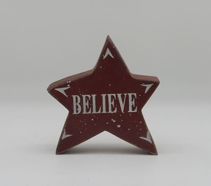 "Picture of Wood Star-BELIEVE(5""x5"")"