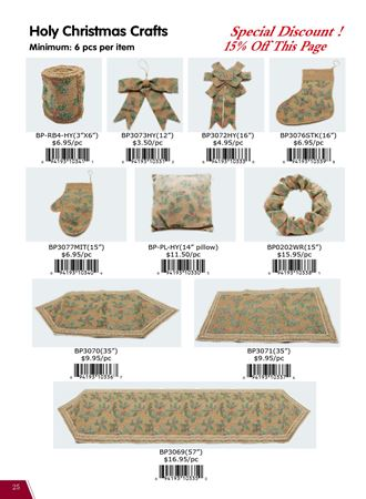 Picture for category Burlap Ribbons, bows, & table top W/Holly Berry Designs